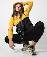 Two Tone Tracksuit Set - Black-Mustard