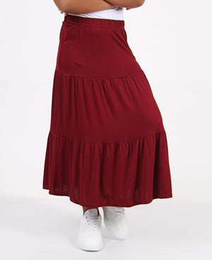 Girls Tiered Viscose Skirt - Burgundy