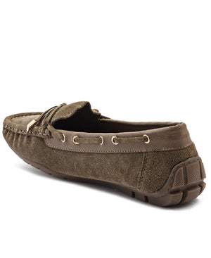 Ladies Taupe Leather Tunis - Shoes