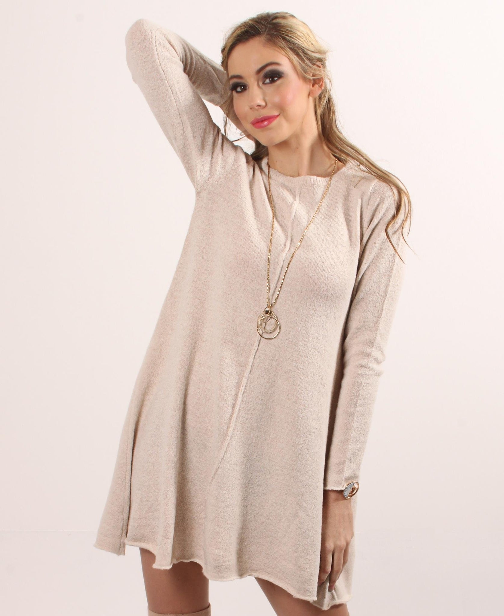 Long Sleeve Jersey Knit Dress - Beige