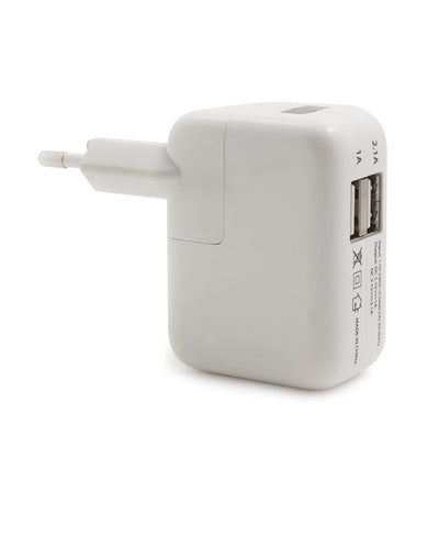 USB Double Port Power Adapter  - White