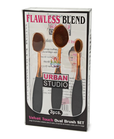 3 Piece Make Up Brush Set - Gold