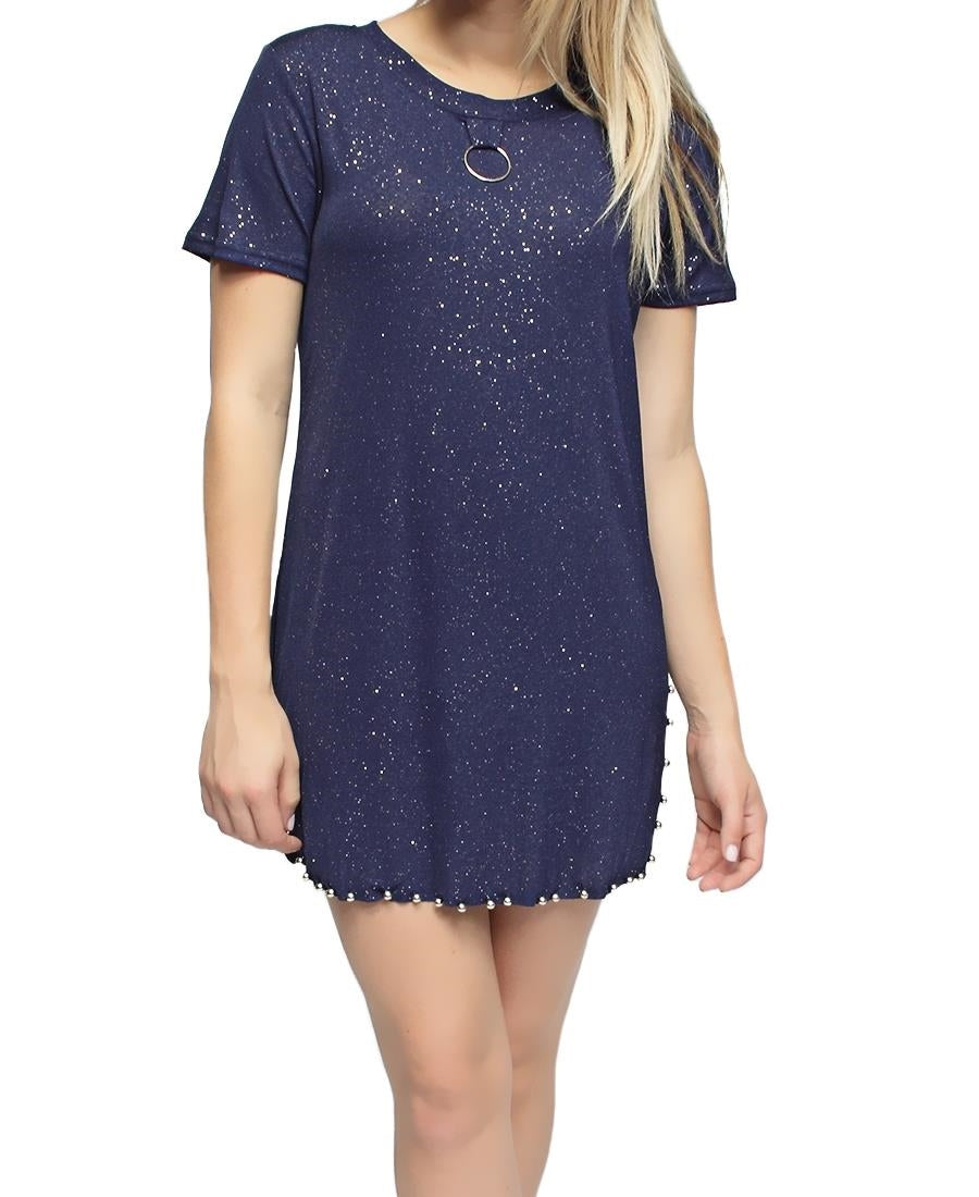 Detailed Long Tee - Navy