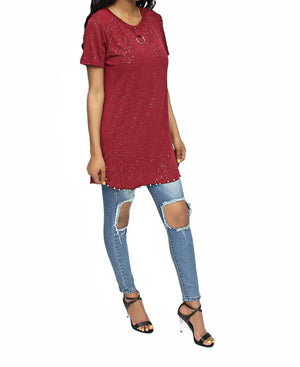 Detailed Long Tee - Burgundy