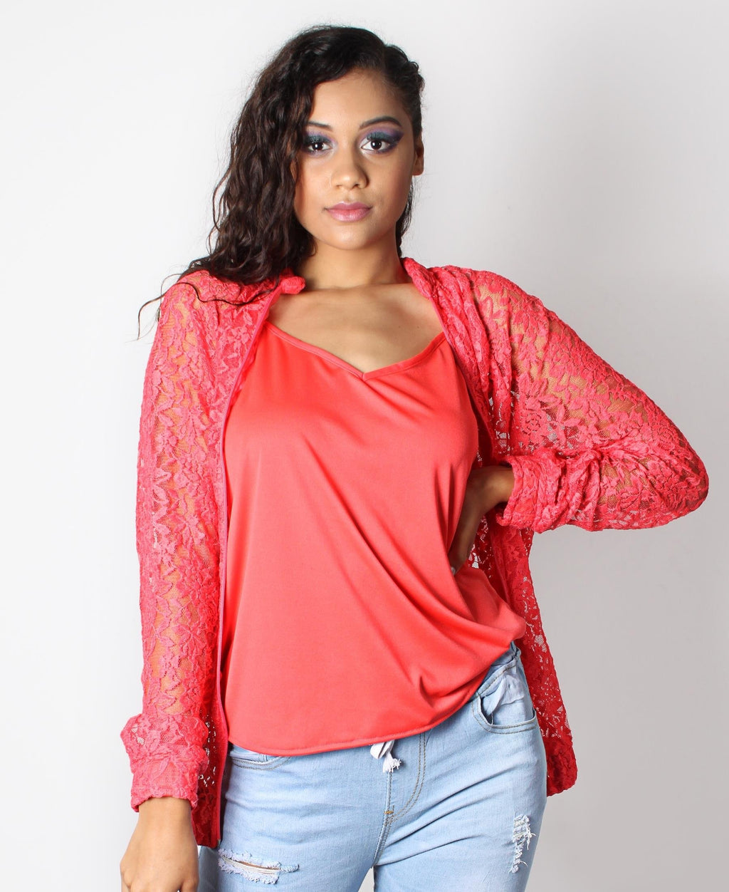 Lacey Zip Up Jacket - Coral
