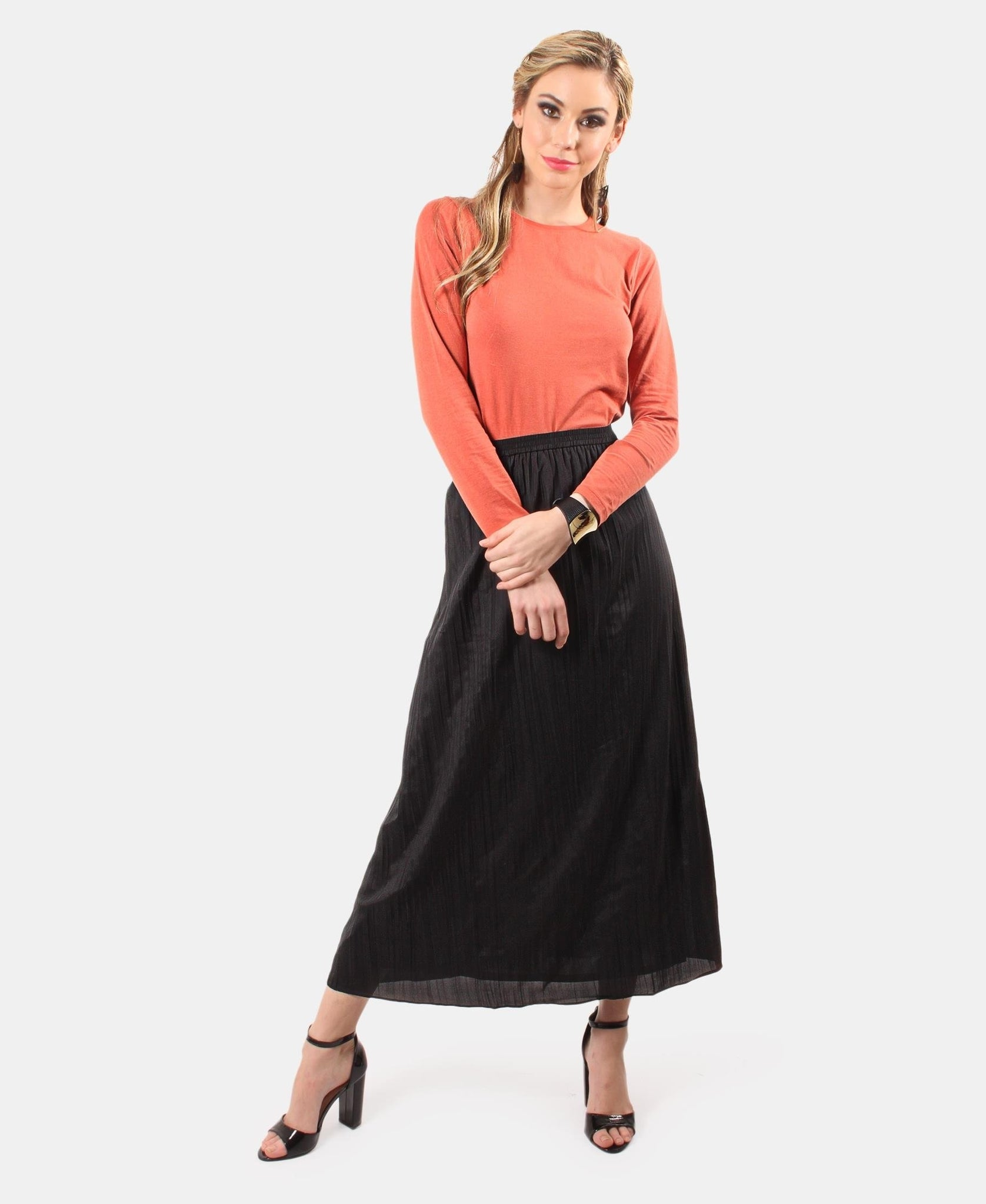 Mid Length Crinkle Skirt - Black