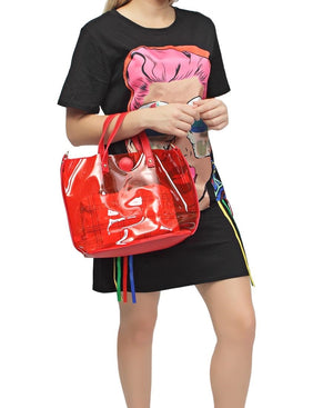 2 Piece Shopper Bag - Red