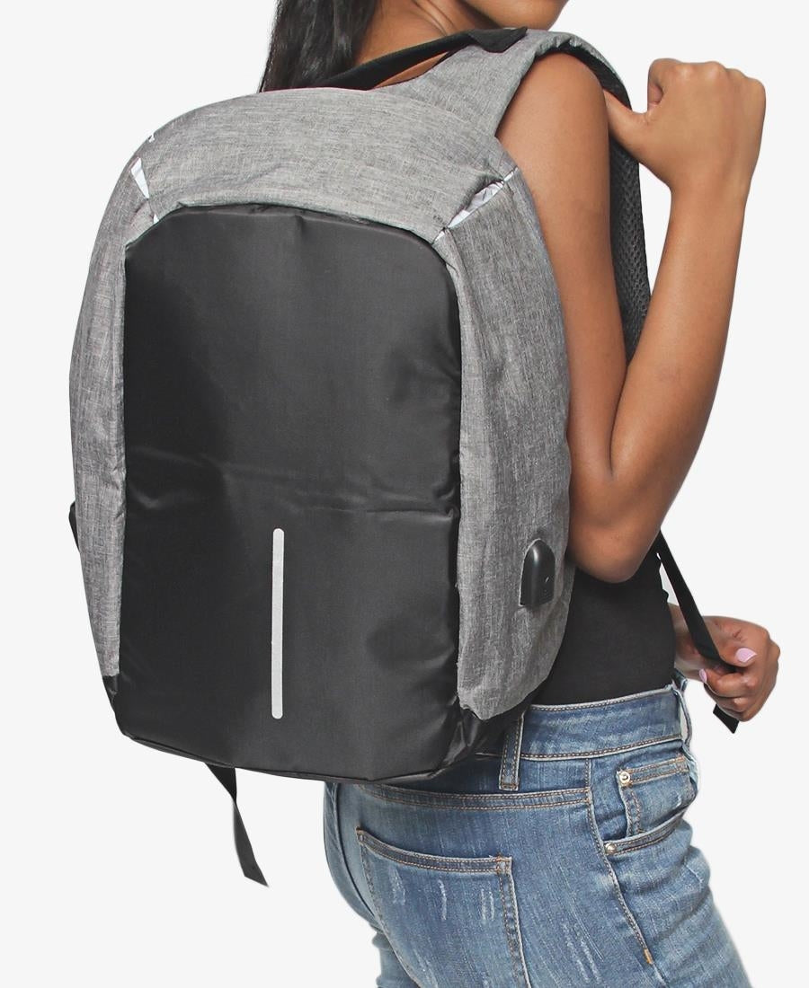 Safety Backpack With USB Port - Grey
