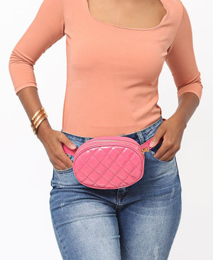 Quilted Moonbag - Pink