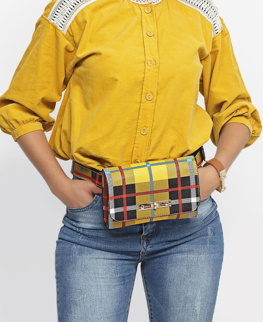 Check Print Moonbag - Mustard