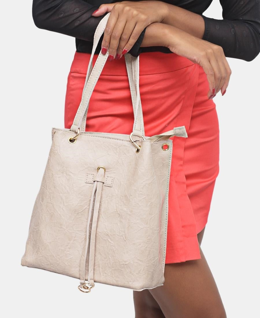 2 Piece Shopper Bag - Beige
