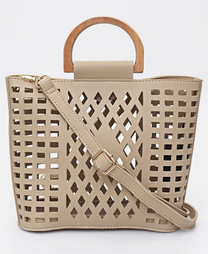 2 Piece Lazer Cut Tote Bag - Beige