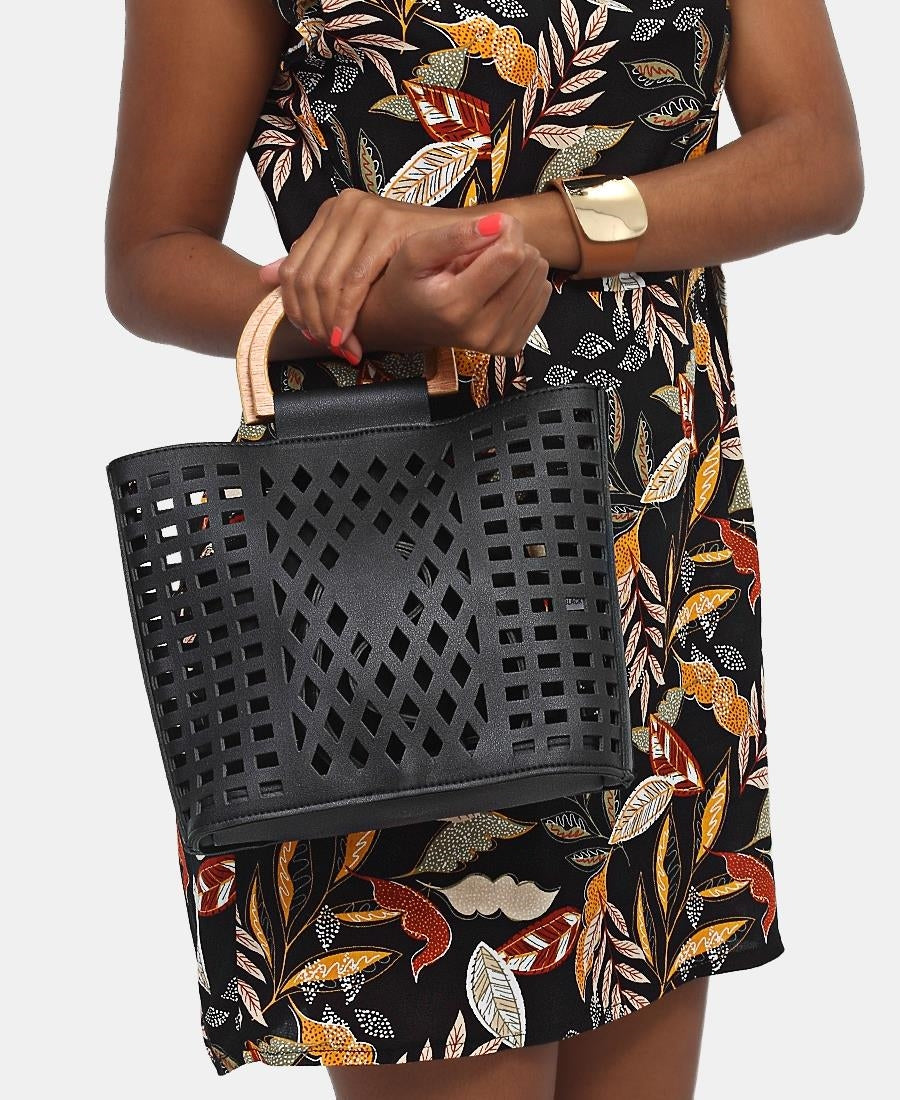 2 Piece Lazer Cut Tote Bag - Black
