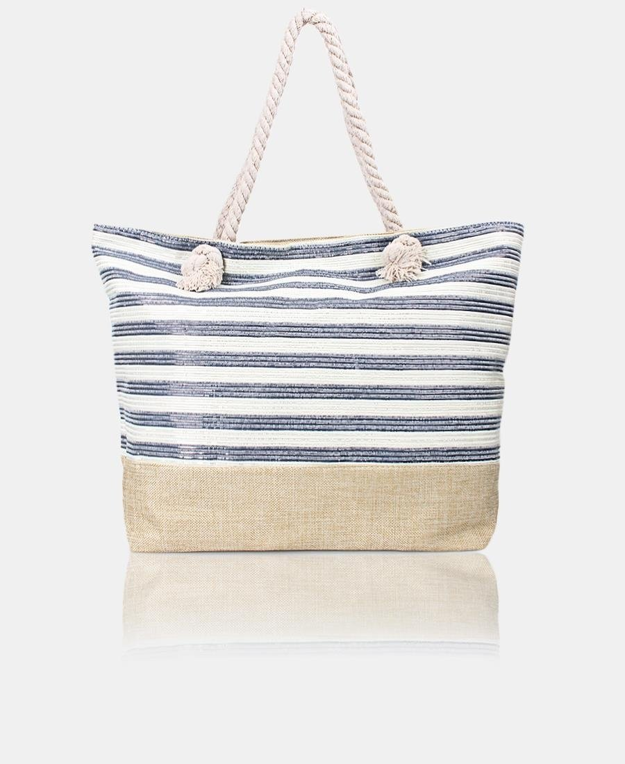 Shimmer Stripe Shopper Bag - Navy