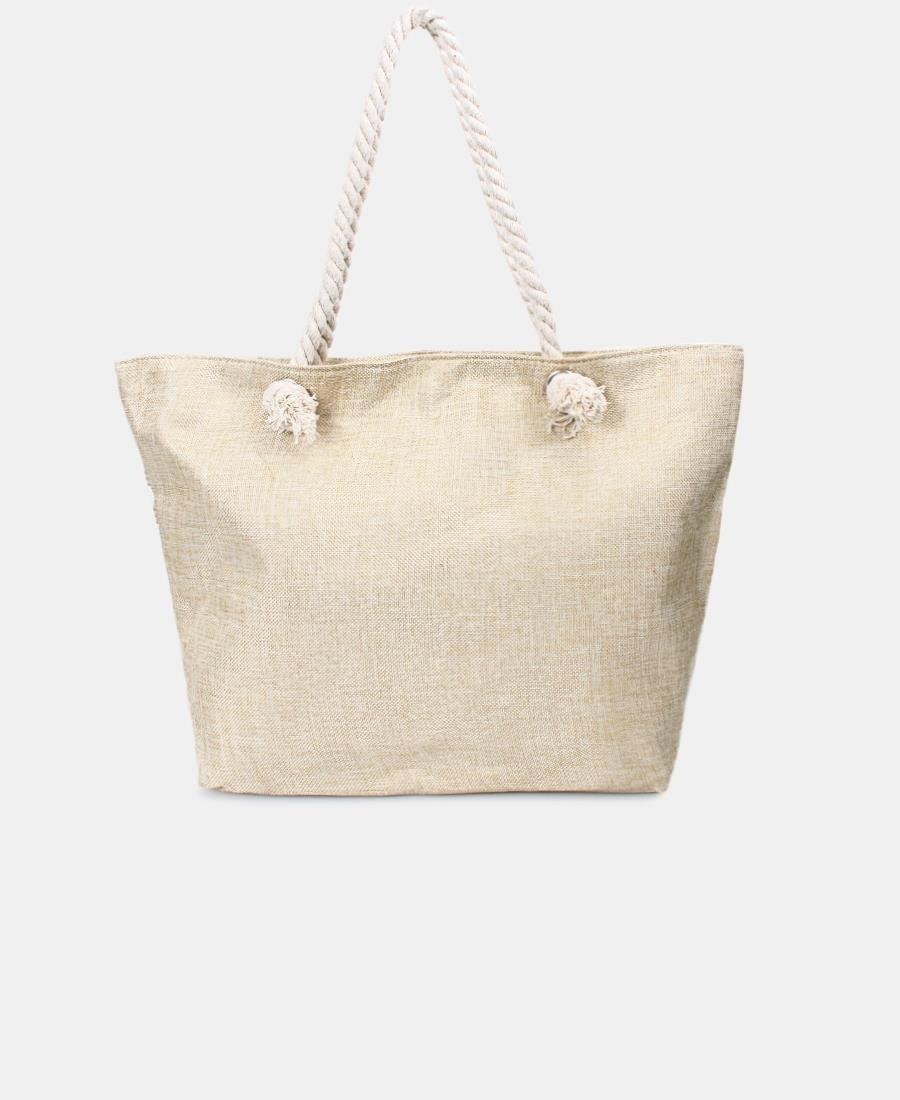 Shimmer Stripe Shopper Bag - Beige
