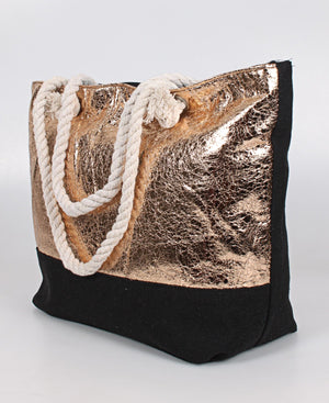 Metallic Shopper Bag - Rose Gold