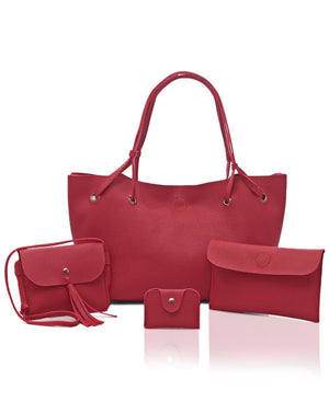 4 Piece Shopper Bag Set - Red