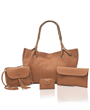 4 Piece Shopper Bag Set - Tan