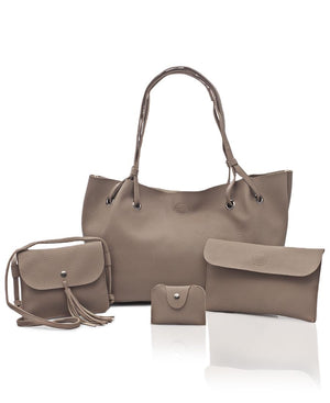 4 Piece Shopper Bag Set - Taupe