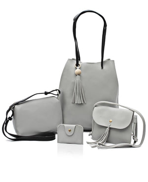 4 Piece Shopper Bag Set - Grey