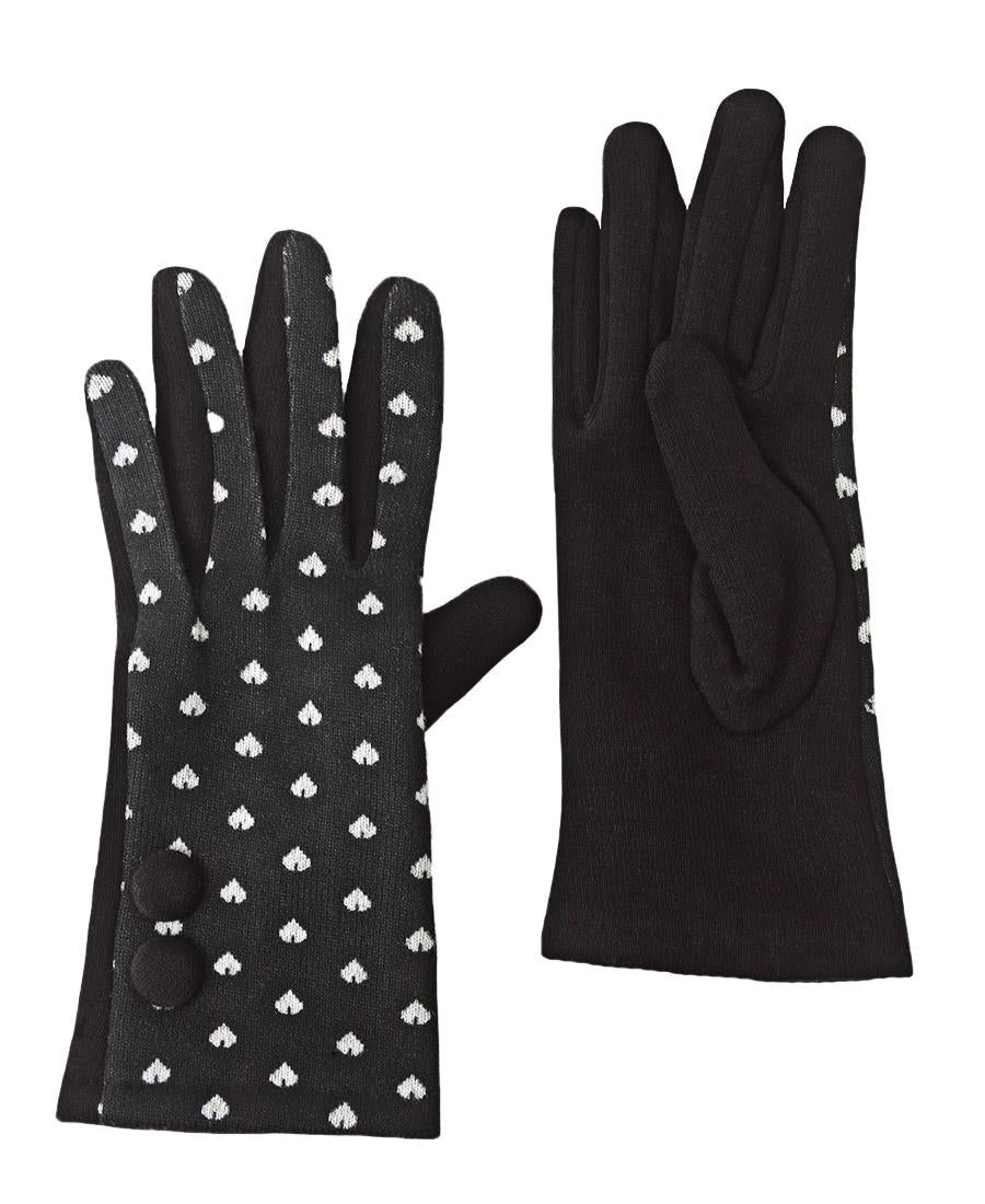 Button Heart Gloves - Black