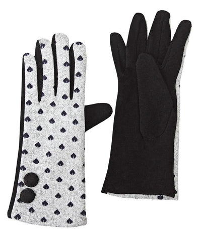 Button Heart Gloves - Grey