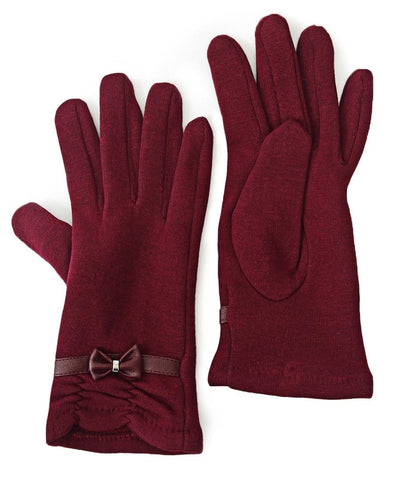 Rouge Detail Gloves With Bow - Burgundy