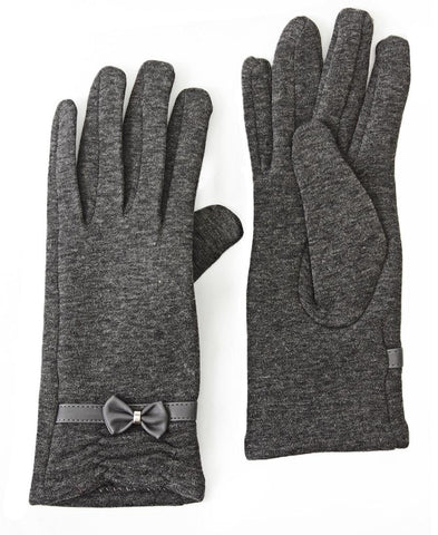 Rouge Detail Gloves With Bow - Grey