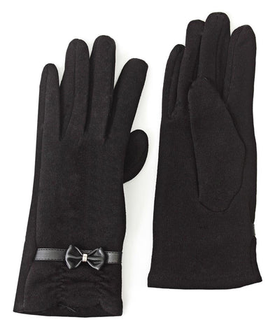 Rouge Detail Gloves With Bow - Black