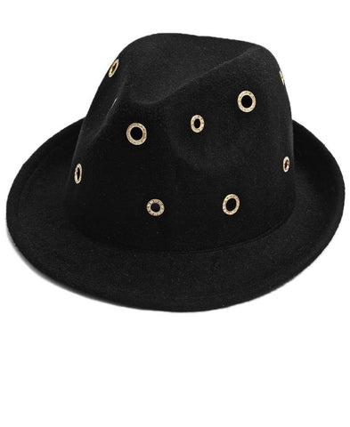 Studded Fedora  - Black