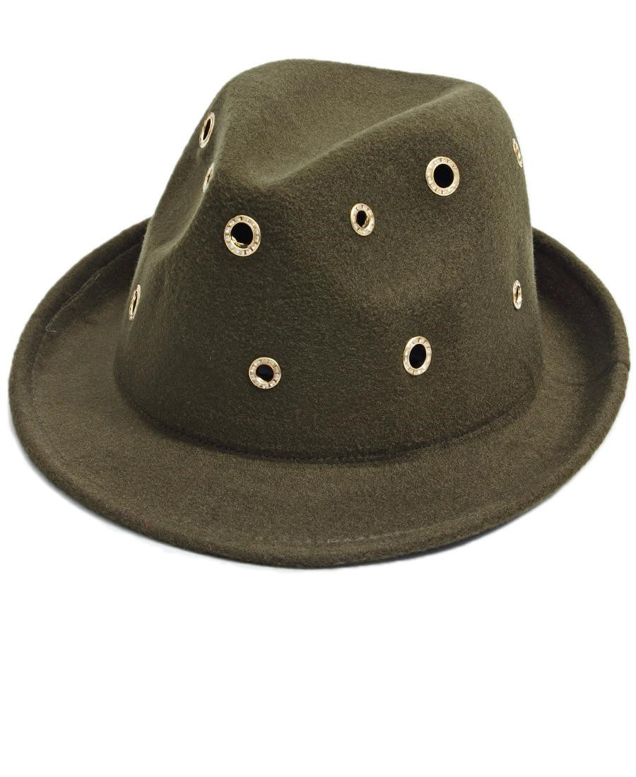 Studded Fedora  - Green