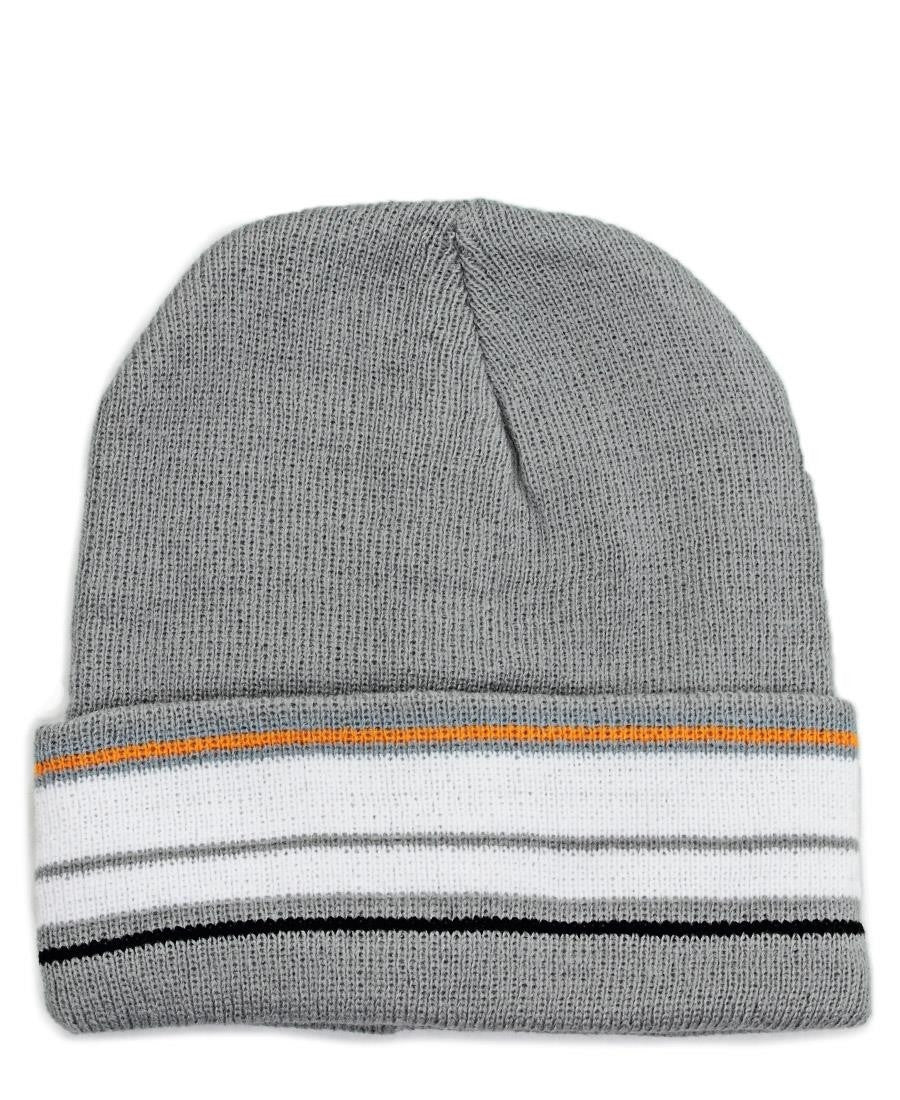 Striped Beanie  - Grey