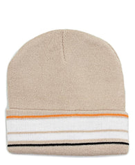 Striped Beanie  - Beige