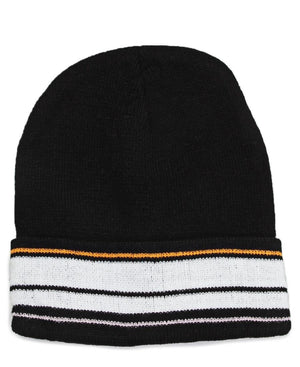 Striped Beanie  - Black