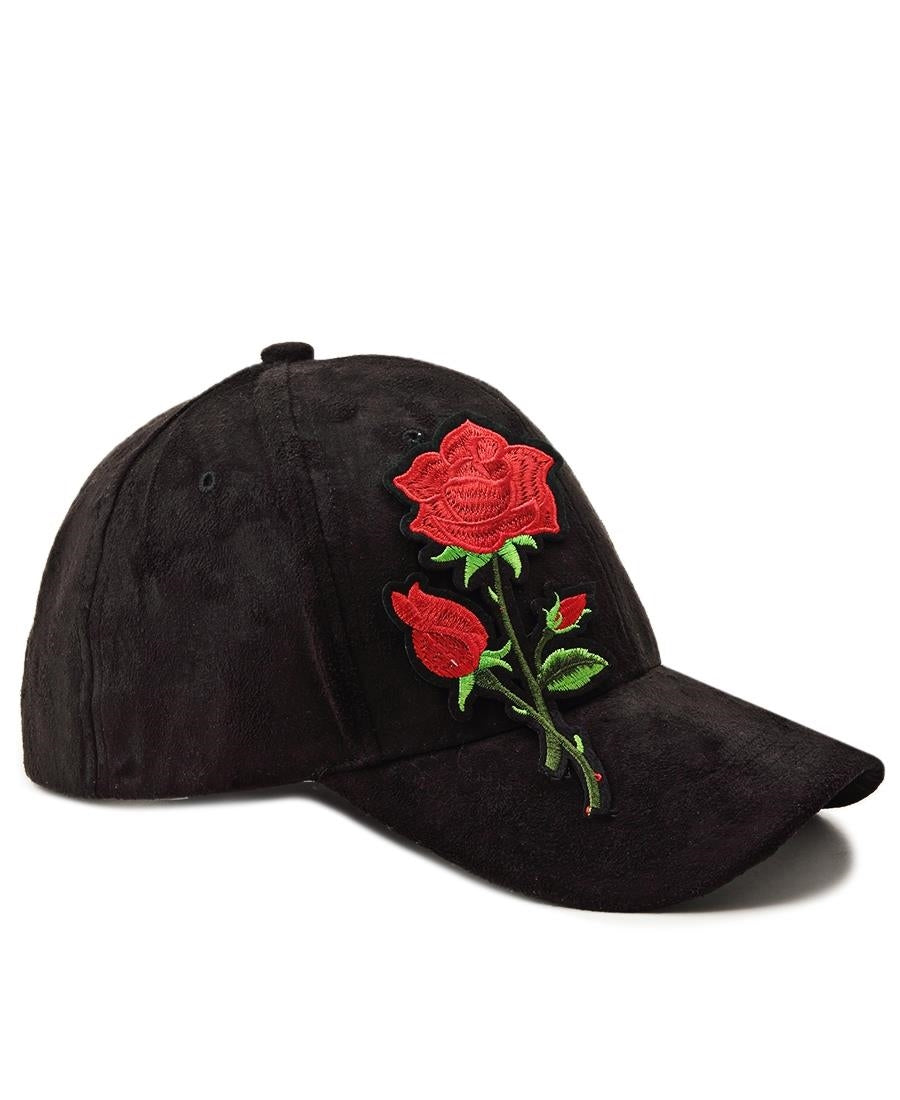 Suede Flower Cap - Black