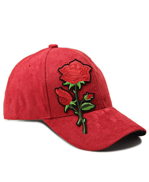 Suede Flower Cap - Red