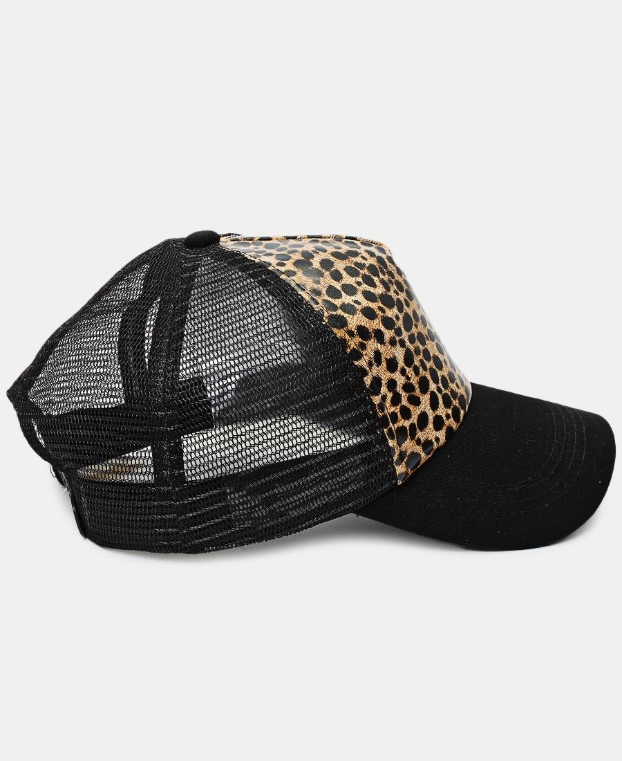 Animal Print Cap - Beige