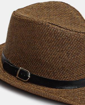 Belt Buckle Fedora Hat - Choc
