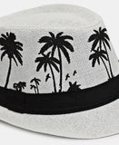 Palm Print Fedora Hat - White
