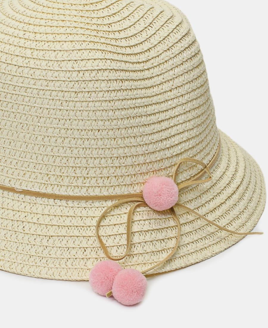 Girls Bucket Straw Hat - Cream