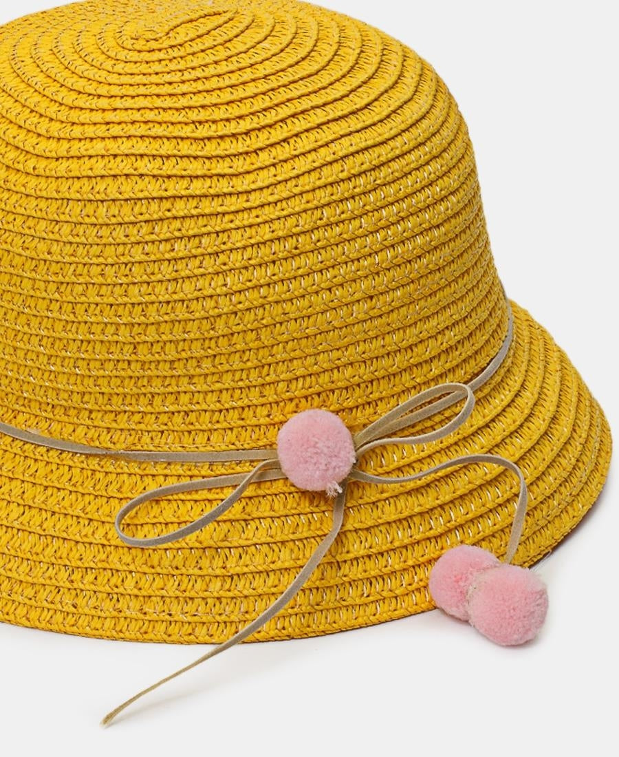 Girls Bucket Straw Hat - Yellow