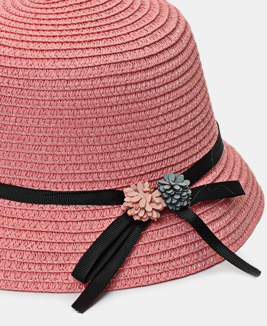Girls Bucket Straw Hat - Pink