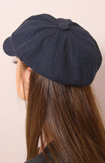 Ladies' Canvas Poor Boy Cap - Black - planet54.com