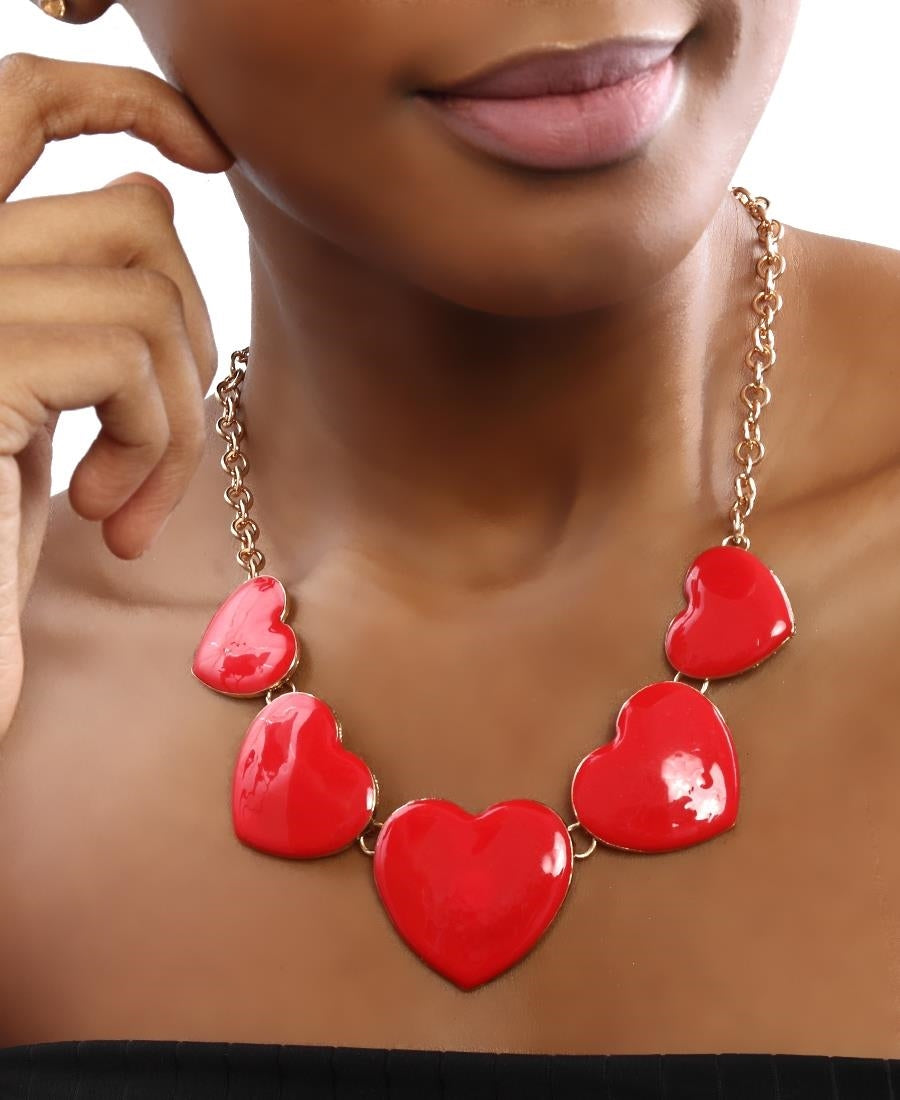 Heart Necklace - Red