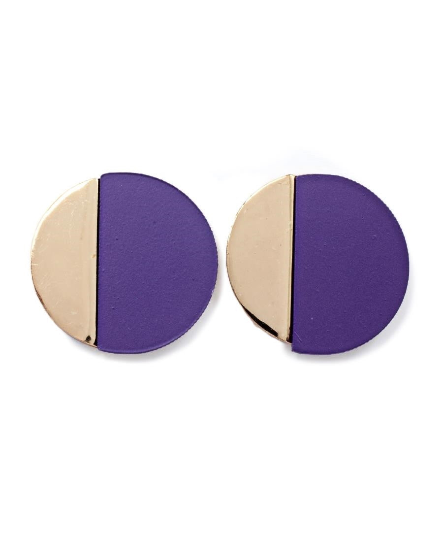 Round Earrings - Purple