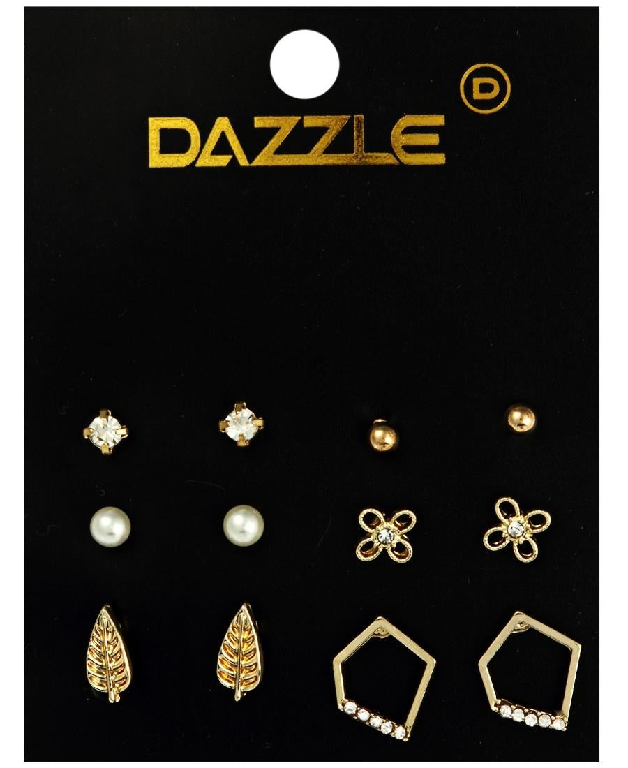 6 Pack Earrings - Gold