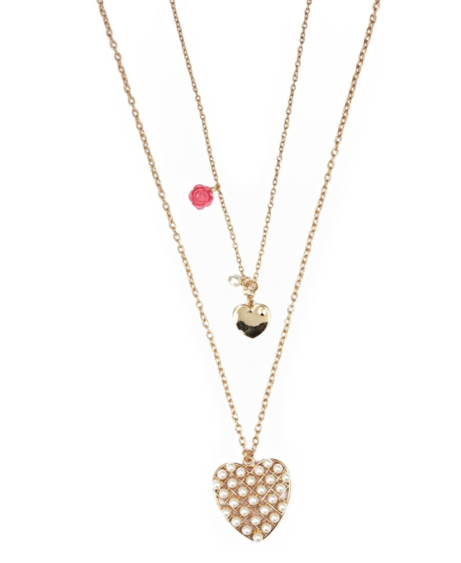 Chain With Heart Pendants - Gold