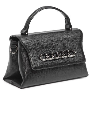 Genuine Leather Crossbody Bag - Black