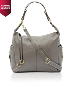 Genuine Leather Shopper Bag - Grey