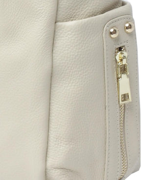 Genuine Leather Shopper Bag - Cream